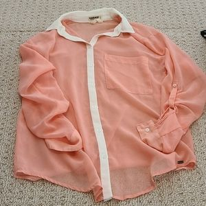 Garage coral two toned button down top